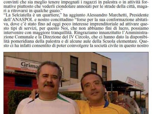 SETTEMBRE 2011 -NASCE DALL'ANASPOL LA PALESTRA SELCIATELLA