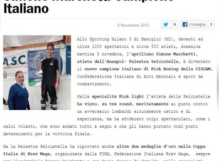 08/11/2015: ANASPOL PALESTRA SELCIATELLA CAMPIONE D'ITALIA DI KICK BOXING