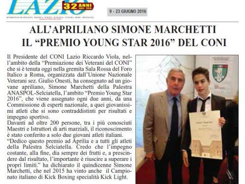 """Simone Marchetti ha vinto il Premio """"Young Star 2016"""""""