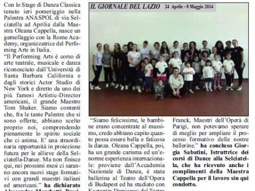 15 aprile 2014: Stage di Danza Classica con Oleana Cappella. Prima tappa del Performing Arts